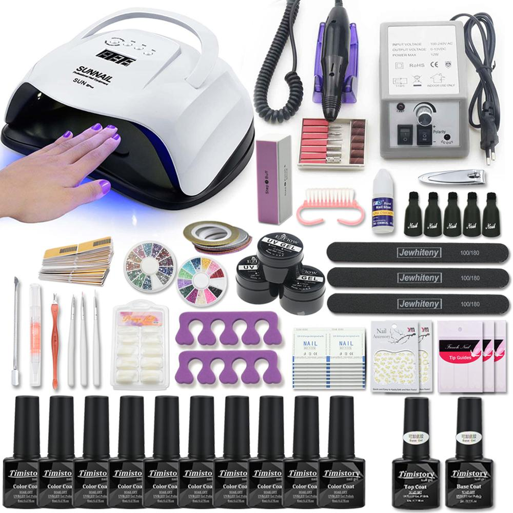 Nail Set With Manicure Machine Gel Nail Polish Set For Nail Kit UV Led Lamp Dryer Nail Art Tools Kit Extention Gel Set