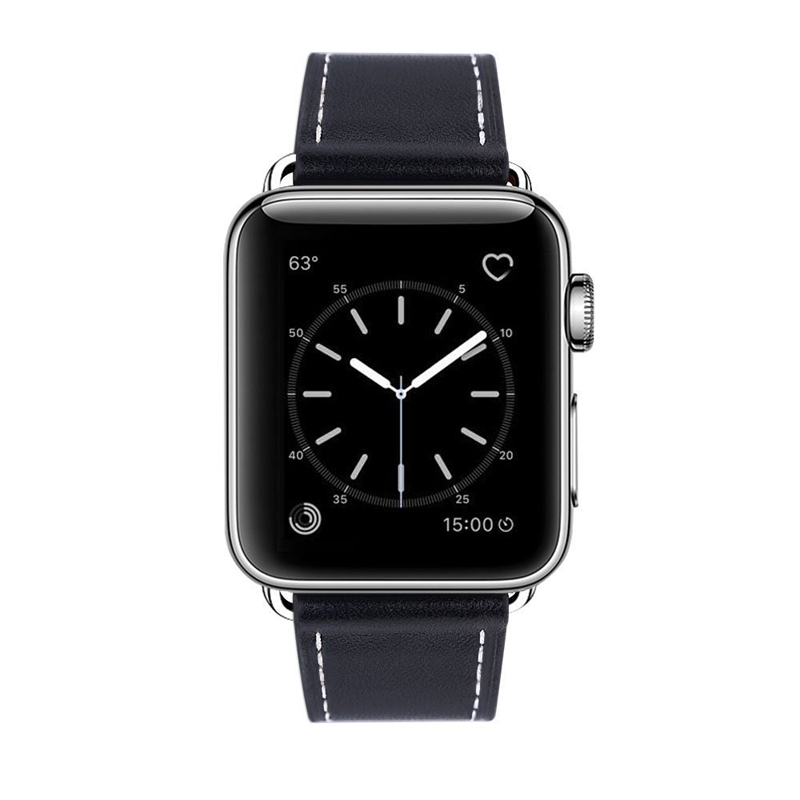Fashion Black Watch band Genuine Leather Strap Watch Accessories WatchStrap Wrist Band For iwatch 1 2 3 4 band in Watchbands from Watches