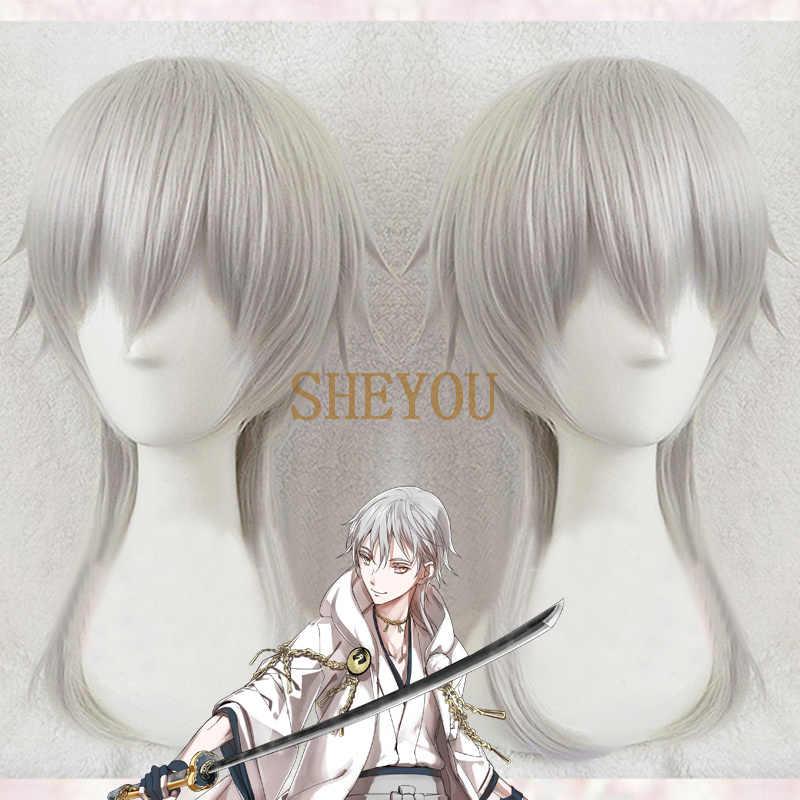 Touken Ranbu Online Tsurumaru Kuninaga peruka Cosplay Anime motyw PSYCHO-PASS Makishima Shougo odporne na ciepło włosy peruki + czapka z peruką