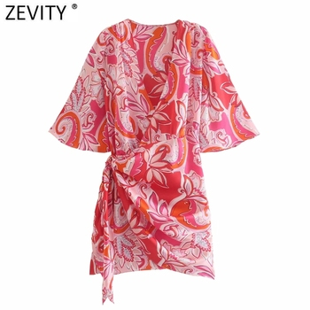 Zevity New 2021 Women Vintage V Neck Totem Floral Print Pleat Knotted Kimono Mini Dress Female Chic Short Sleeve Vestidos DS8399 1