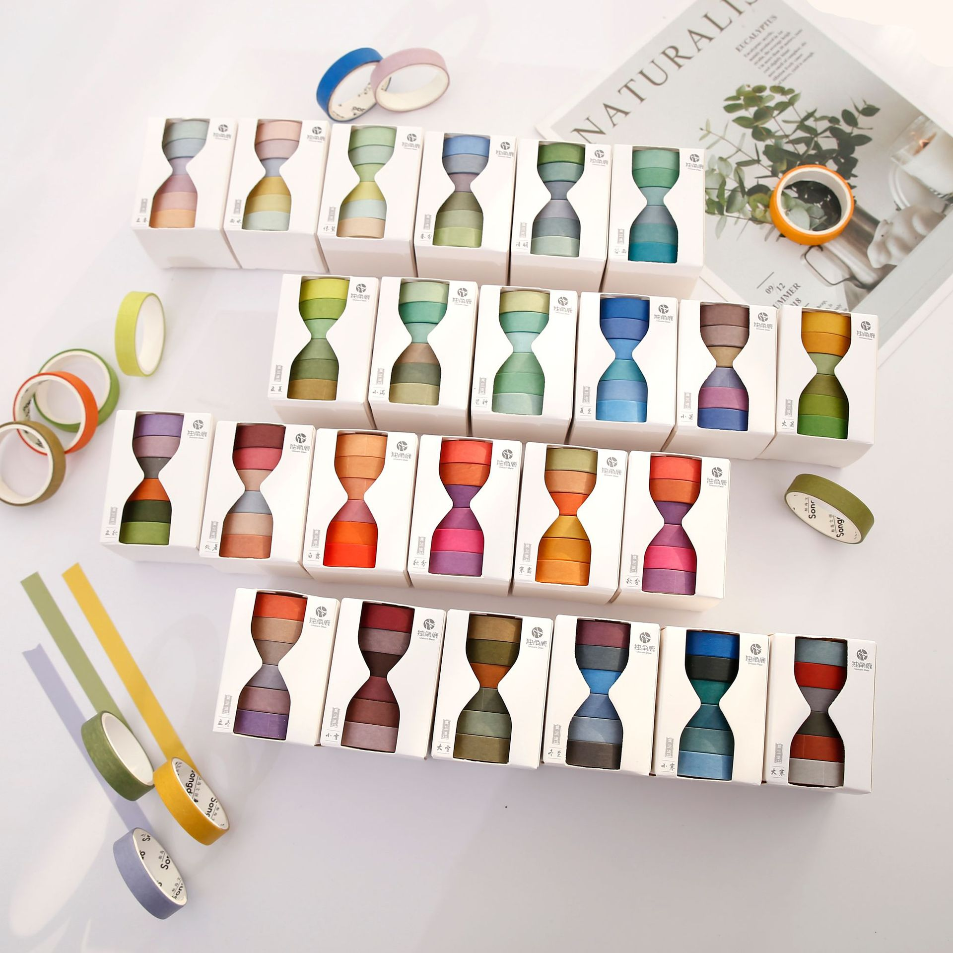 24solar Terms Series Decorative Adhesive Washi Tape Set Pure Color Masking Tape Stickers Craft Tools For Scrapbooking Stationery