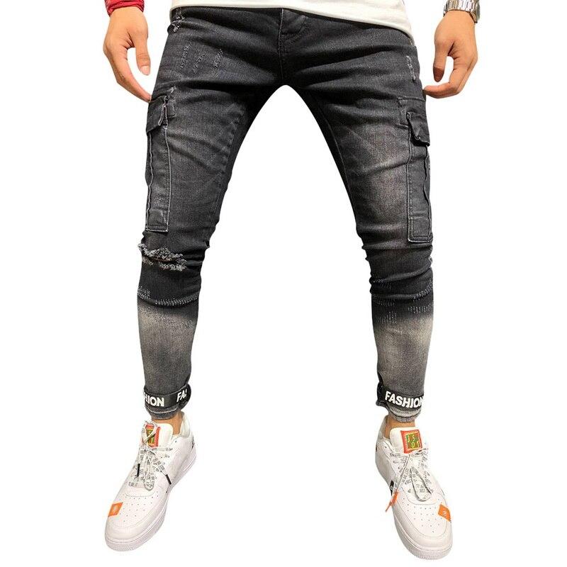 2019 New Men's Autumn Winter Slim Casual Running Jeans Black Hole Boys Cowboy  Mens Sports Fitness Pants