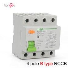 4P 63 Amp タイプ B 10KA RCCB RCD 230V 400V 30mA 残留電流回路ブレーカ TORD6B 63