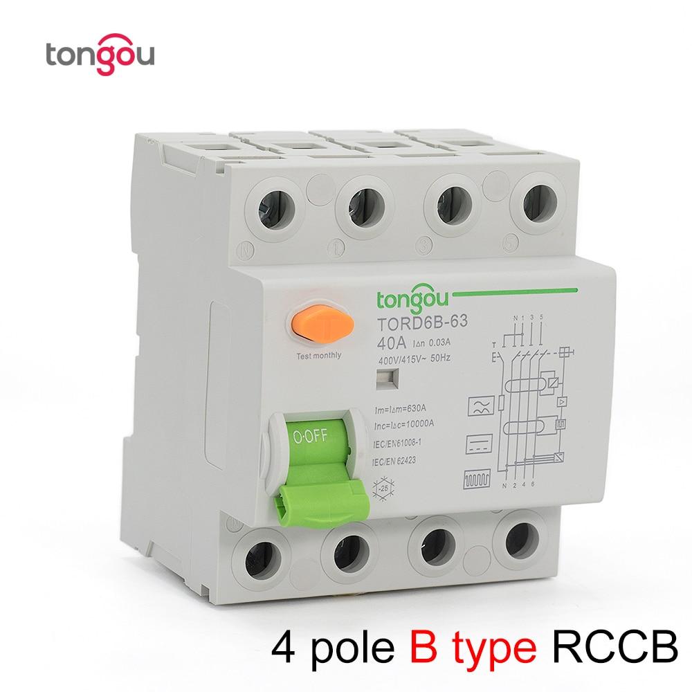 4P 63 Amp Tipo B 10KA RCCB RCD Disjuntor Atual Residual Do Circuito 230V 400V 30mA TORD6B-63