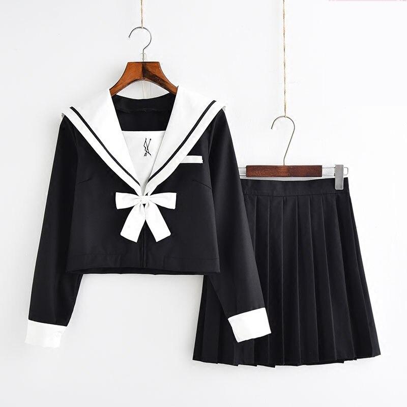 Hot Sale Jk Japanese Schoolgirl Cosplay Uniforms Navy Style Sailor School Uniform With White Bowtie Student Cosplay Costume Suit