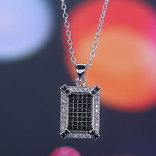 Fashion Micro Pave AAA Black&Clear Zircon Necklace for Women White  Gold Color Wedding Jewelry Dropshipping
