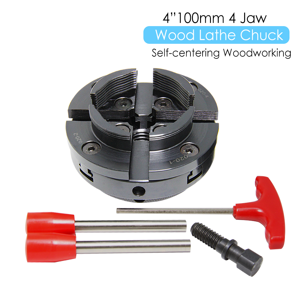 """4"""" Inch Wood Lathe Chuck 100mm 4-Jaw Self Centering Woodworking Machine Turning Tool Accessories For DIYers Hobbies"""