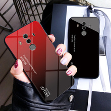 Voor Huawei Mate 10 Pro Case Gradiënt Gehard Glas Hard Telefoon Case Voor Huawei Mate 10 Pro Shockproof Back Cover mate10 Pro Shel