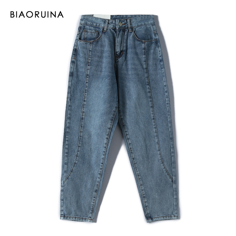 BIAORUINA Women's Casual Washing Bleached Cotton Wide Leg Ankle-Length Denim Jeans Loose High Waist Fashion Jeans