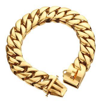 32mm Dog Collar Chain Gold 316 Stainless Steel Bulldog Pitbull Collar Lead Pet Chain Necklace Trainning Large Dog Collar