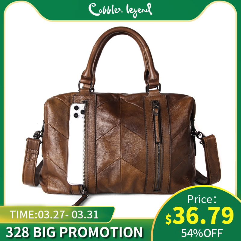 Cobbler Legend Double Zippers Genuine Leather Handbag Women Shoulder Crossbody Bags Designer Luxury Ladies Tote 2019 Purse