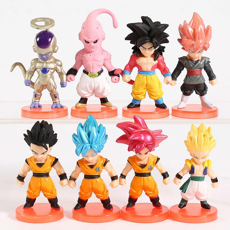 Dragon Ball Z Super Saiyan Deus Gogeta Son Goku Gohan Majin Buu PVC Figuras Freeza Brinquedos 8 pçs/set