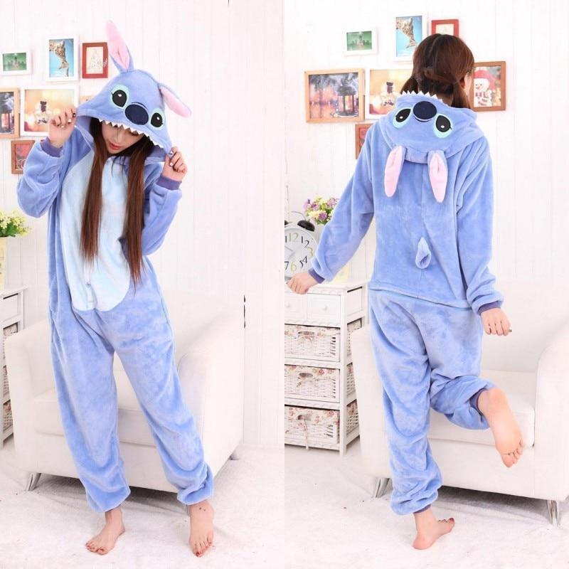 Adult Stitch Pajamas Sets Women Onesie Winter Warm Pyjamas Sleepwear Pijama Onepiece Onesies For Adults