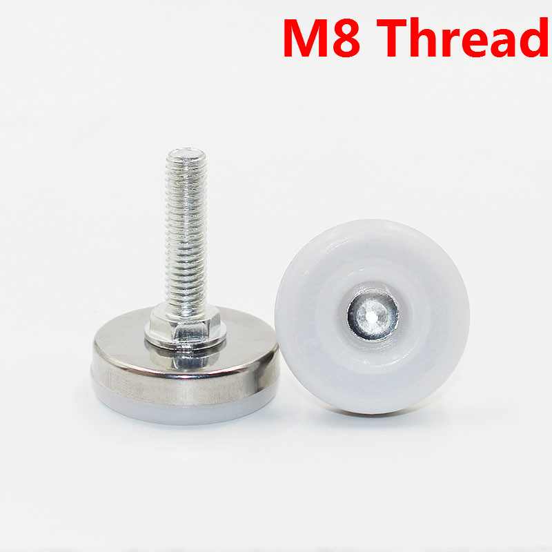 20/8pcs Furniture Legs Feet Protectors Stainless Steel Table Carbinet Legs Feet Hardware Accessories M8 Thread White