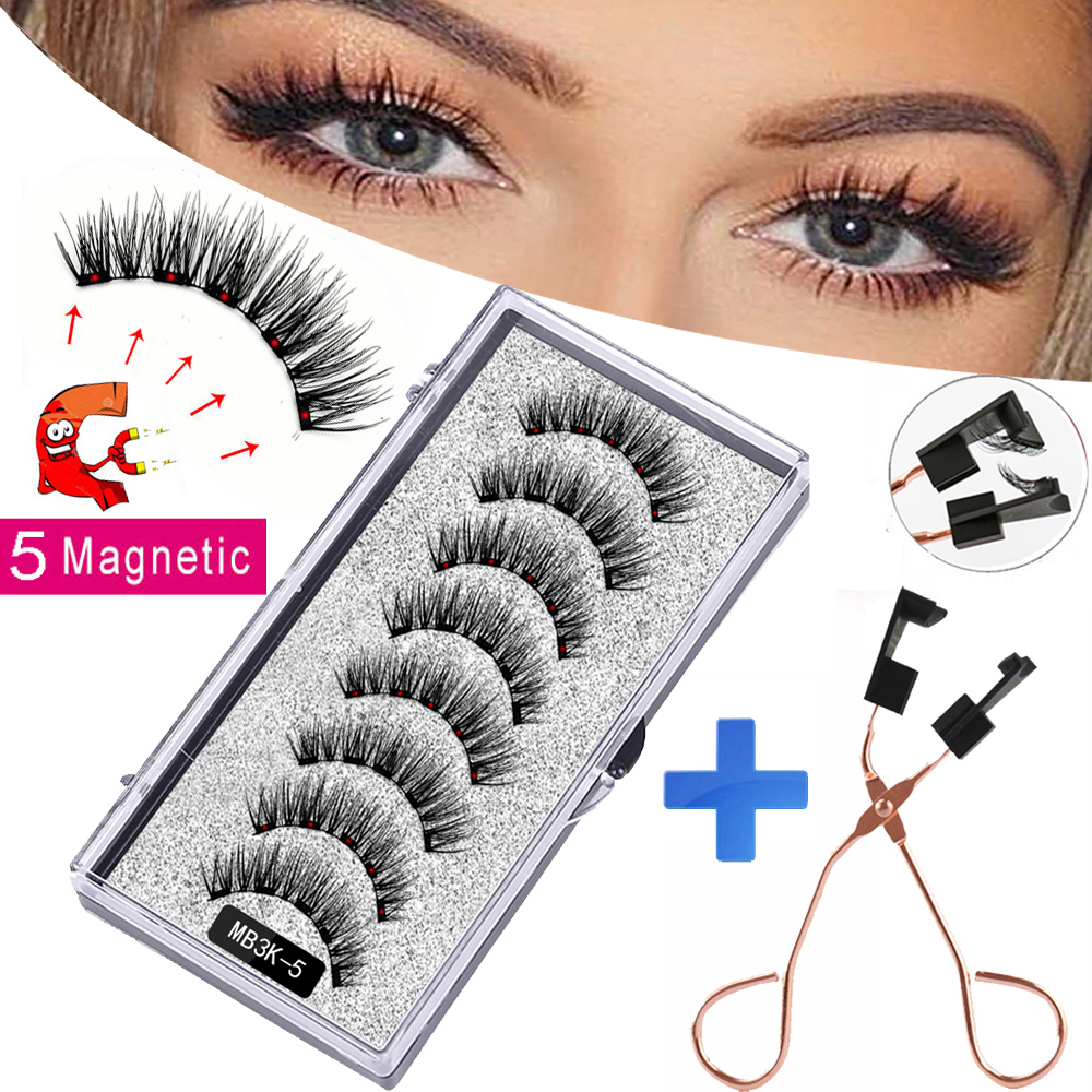 MB3K 5 magnetic eyelashes natural with 3D magnet handmade 8PCS magnetic lashes Tweezer Set Mink eye