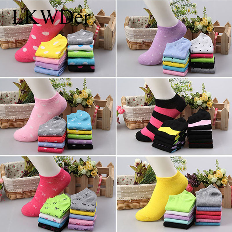 LKWDer 20pcs=10 Pairs/lot Candy Colors Women'S Ankle Socks Funny Cute Solid Color Boat Socks Womens Lady Girl Art Sock Short Sox