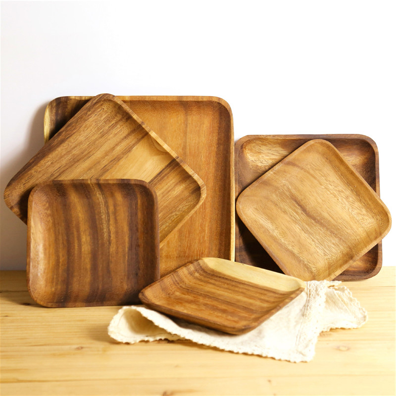 Square Solid Wood Plates Whole Acacia DIY Wood Dishes Fruit Wooden Service Tray Dessert Dinner Breakfast Plate Tableware Set