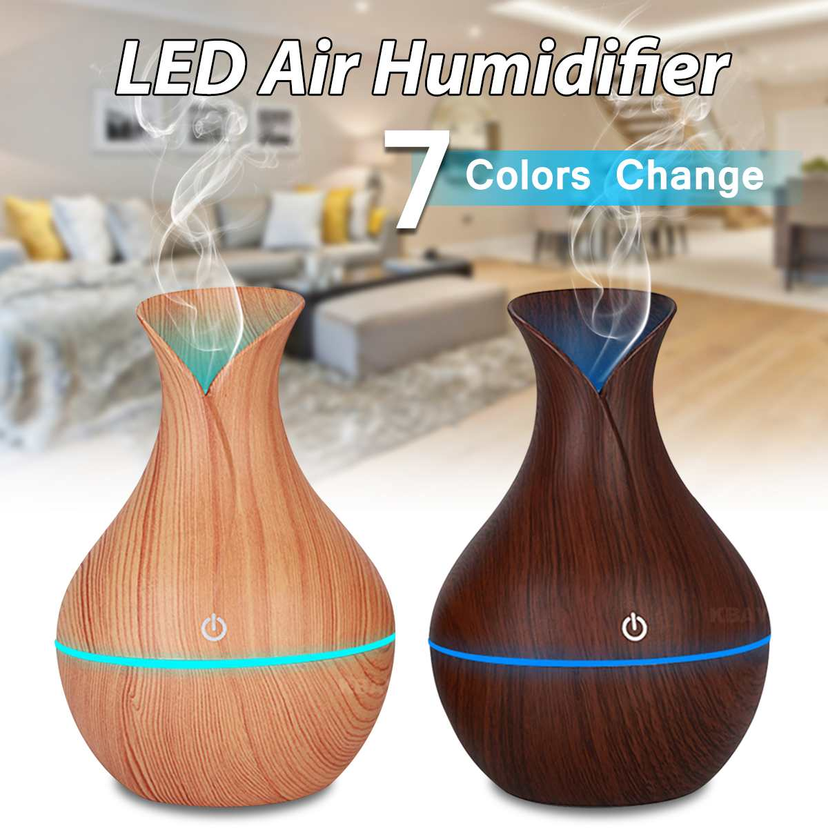 Ultrasonic Humidifier Air Purifier Essential Oil Diffuser Touch Mode 7 Color LED Night Lamp USB Mist Maker Household Humidifiers