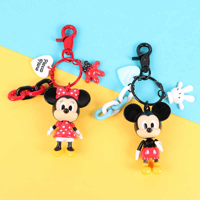 Minnie Cute Cartoon Figure Key Chain Mini Anime Key Ring Kid Charm Mouse Pendant Keychain Key Fashion Girl Keyring