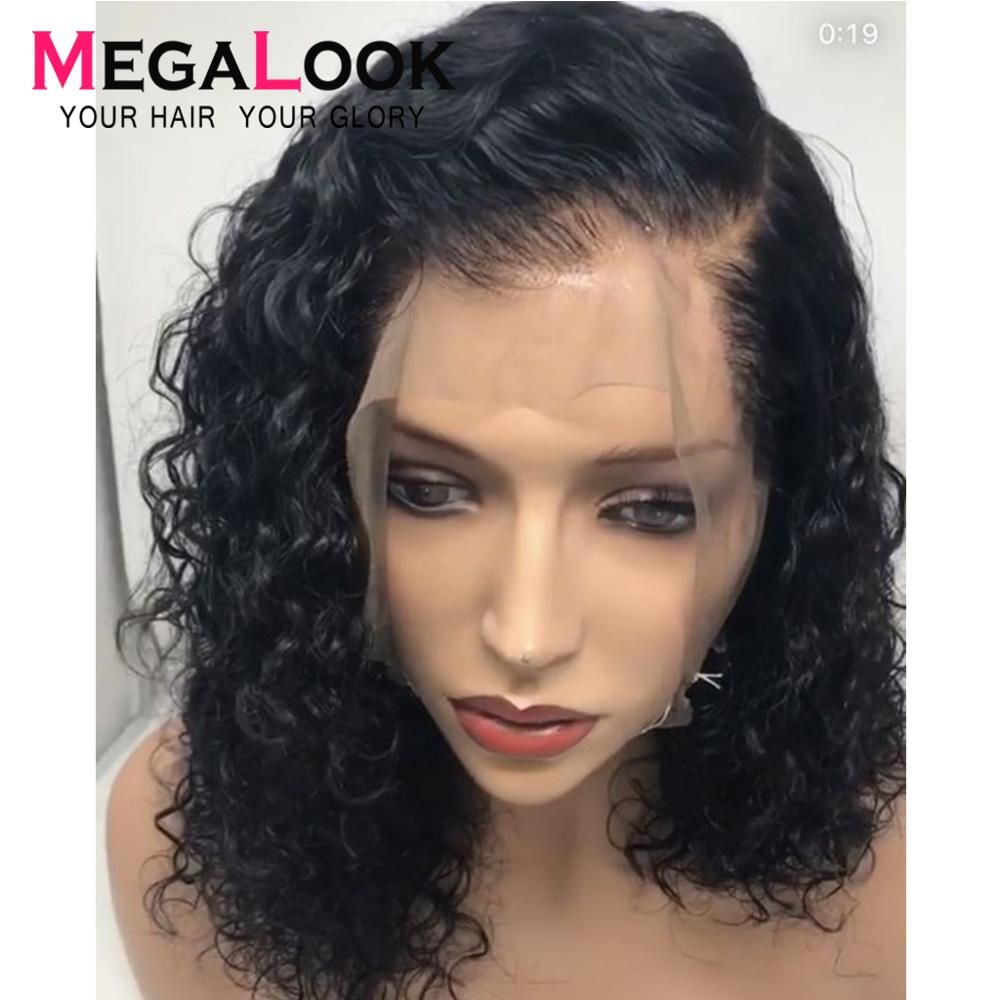 Water Wave Wig 13x6 Lace Front Wig Short Bob Wigs Bob Lace Front Human Hair Wigs Brazilian Remy Bob Hair Wig Megalook Hair