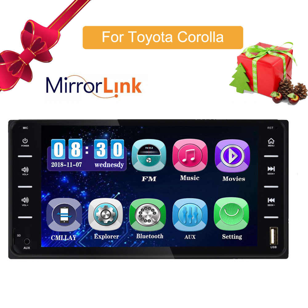 "Araba ses MP5 DVD OYNATICI Toyota Corolla için 2 Din dokunmatik ekran multimedya Android/IOS MirrorLink Bluetooth 7 ""evrensel FM AM"