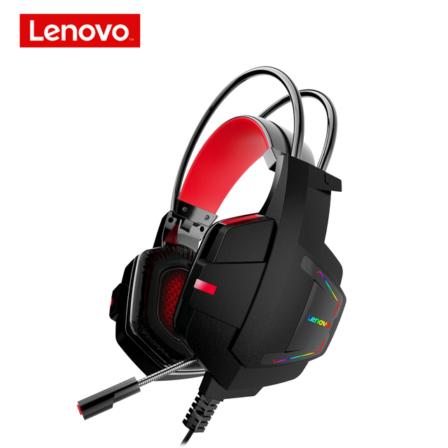 Lenovo HU85 Gaming ชุดหูฟังสเตอริโอแบบมีสายหูฟัง USB Gaming หูฟังพร้อมไมโครโฟนสำหรับแล็ปท็อป PS4