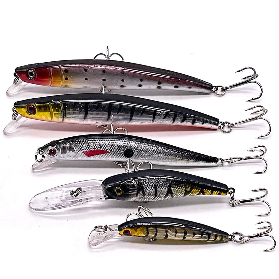 5pcs Jerkbait Minnow Crankbaits Wobbler For Fishing Lure Set Tackle Artificial Bait Kit Trout Trolling Lures Hard Bass Swimbait