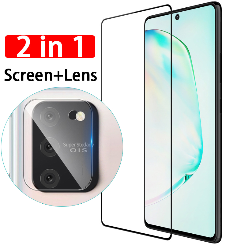 2-in-1 Tempered Glass Screen Protector On For Samsung Galaxy S10 Plus S10e S 10 Lite S10lite S10plus Camera Lens Protective Film