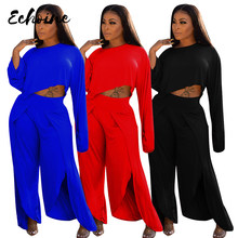 Winter Spring Women Tracksuit O Neck Full Sleeve Crop Tops Pants Suit Two Piece Set Solid Color Casual Loose Fitness Outfits XXL(China)