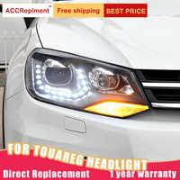 2Pcs LED Scheinwerfer Für Volkswagen Touareg 11-14 led auto lichter Engel augen xenon HID KIT Nebel lichter LED Tagfahrlicht