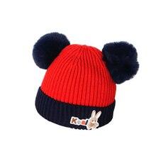 Cute Baby Boys Girls Fur Ball Pom Hat Kids Winter Wool Hats O-Collar Scarf Winter Warm Knit Crochet Beanie Cap Scarf Set New беспроводной маршрутизатор tp link m7350 4g