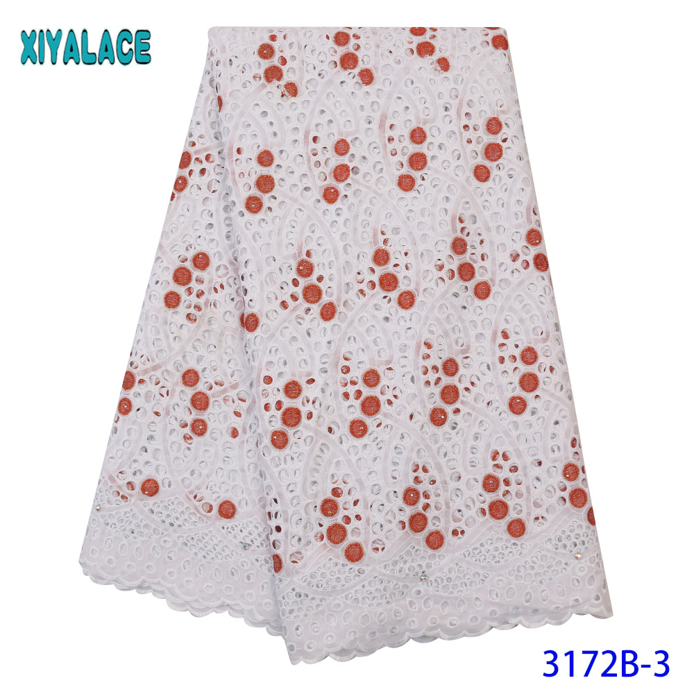 High Quality Embroidered Lace Swiss Voile Lace In Switzerland African Lace Fabric Dry Cotton Lace With Stones Holes KS3172B