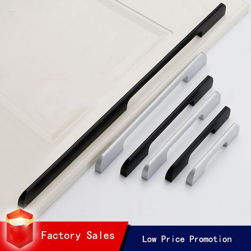 Black Aluminum Alloy Security Door Handles American Style Lengthen Cabinet Door Handle Modern Decorative Drawer Flush Handles|Door Handles| |  - title=