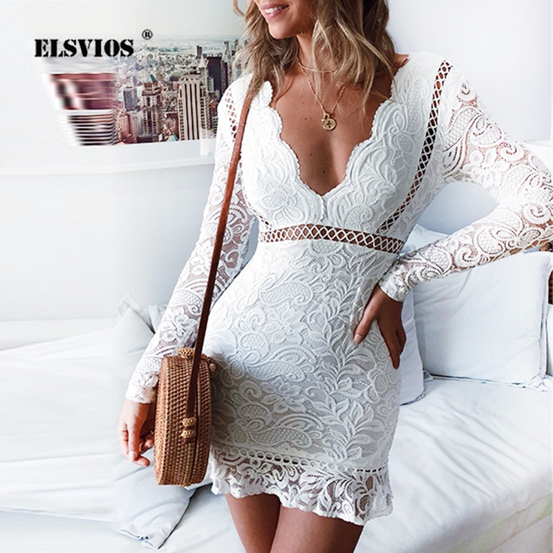 White Lace Dress 2020 Spring Tie-up Backless Bodycon Party Dress Ladies Deep V-neck Hollow Out Ruffle Autumn Mini Dress Vestidos