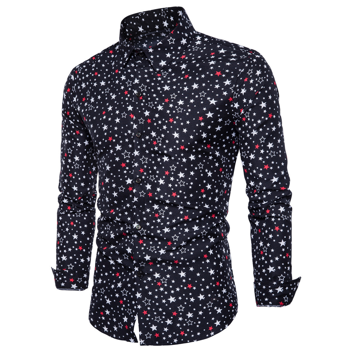 19 Years New Style Ouma  Electricity Supplier MEN'S Long-sleeved Shirt Digital Five-pointed Star Printed Long-sleeve