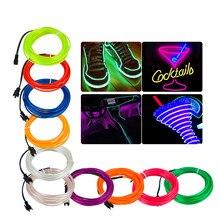 1M/2M/3M/4M/5M Flexible cuerda cables electroluminiscentes con luz de neón LED impermeable LED de tira de neón cinta tubo 10 Color luz de decoración del partido de danza
