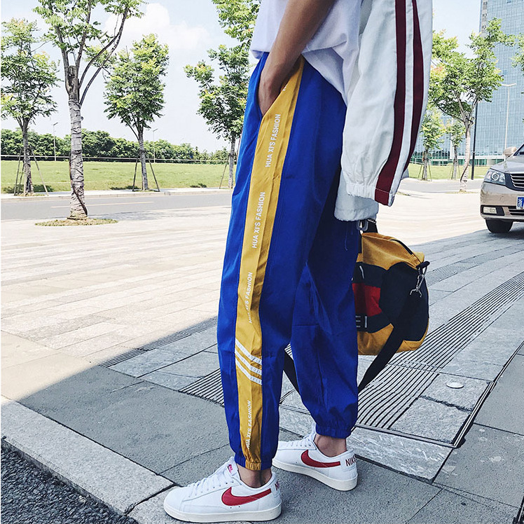 INS Hong Kong Style BOY'S Korean-style Casual Collusion Pants Hip Hop Stripes National Trends IFASHION Sports Medium Waist Ankle