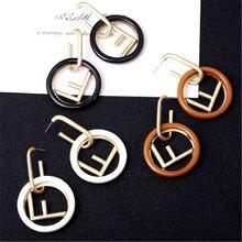 Korean Earrings 925 Sterling Silver Earrings Round Geometric Letter F Dangle Drop Earring for Women Fashion Jewelry Gift Brincos