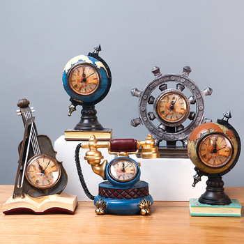 New hot selling European-style ornaments retro musical instruments clock models creative home crafts opening birthday gifts