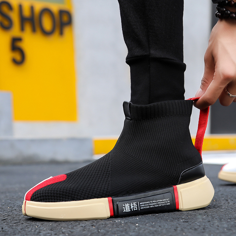 spring autumn High Top Sock sneakers Men Casual Shoes Slip On Boots Male Striped Footwear Couples Sock Shoes Mens botas mujer