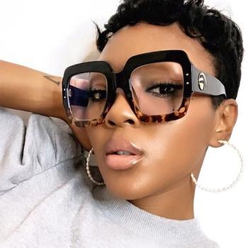 2020 anti blue light Oversized glasses frame women fashion Luxury brand Square Big frame Clear lens transparent frames Vintage