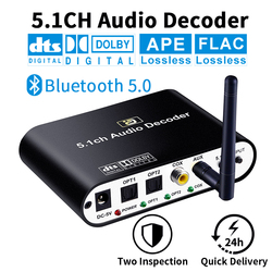 DA615 5.1CH Audio Decoder Bluetooth 5.0 Reciever Wireless Audio Adapter Optical Coaxial AUX USB2.0 DAC DTS AC3 FLAC