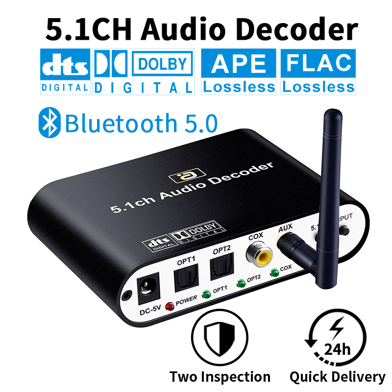 DA615 5.1CH Audio Decoder Bluetooth 5.0 Reciever <font><b>DAC</b></font> Wireless Audio Adapter Optical Coaxial AUX USB disk play <font><b>DAC</b></font> DTS AC3 FLAC image
