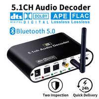DA615 5.1CH decodificador de Audio Bluetooth 5,0 receptor DAC de Audio inalámbrico adaptador óptico Coaxial AUX USB disco jugar DAC DTS AC3 FLAC