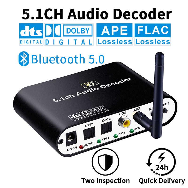 DA615 5.1CH dekoder dźwięku Bluetooth 5.0 odbiornik DAC bezprzewodowy Adapter Audio optycznym koncentryczny AUX dysk USB grać DAC DTS AC3 FLAC