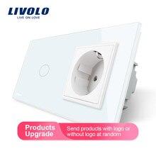 Livolo ЕС Стандартный сенсорный выключатель, белая кристальная стеклянная панель, AC 220~ 250V 16A настенная розетка с выключателем светильник, VL-C701-11/VL-C7C1EU-11