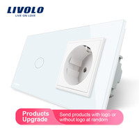 Livolo EU standard Touch Switch,White Crystal Glass Panel, AC 220~250V 16A Wall Socket with Light Switch,VL C701 11/VL C7C1EU 11
