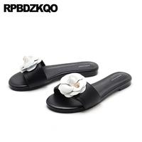 Slippers Flat High Quality Ladies Luxury Shoes Women Designer Soft 2018 Open Toe Big Size Black And White Sandals Slides Flower