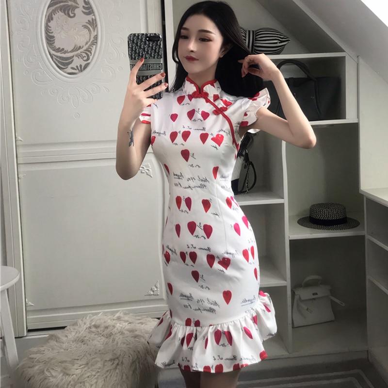 2019 chinese dress red and white cheongsam modern qipao evening dress nightclub retro cheongsam fishtail skirt bodycon qi pao