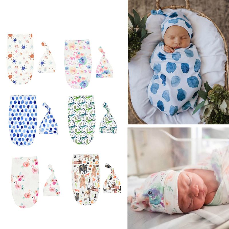 Newborn Blankets Infant Baby Boys Girls Sleeping Bag Swaddle Muslin Wrap+Hat Set